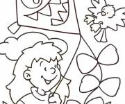 Free coloring and drawings Scary kite Coloring page