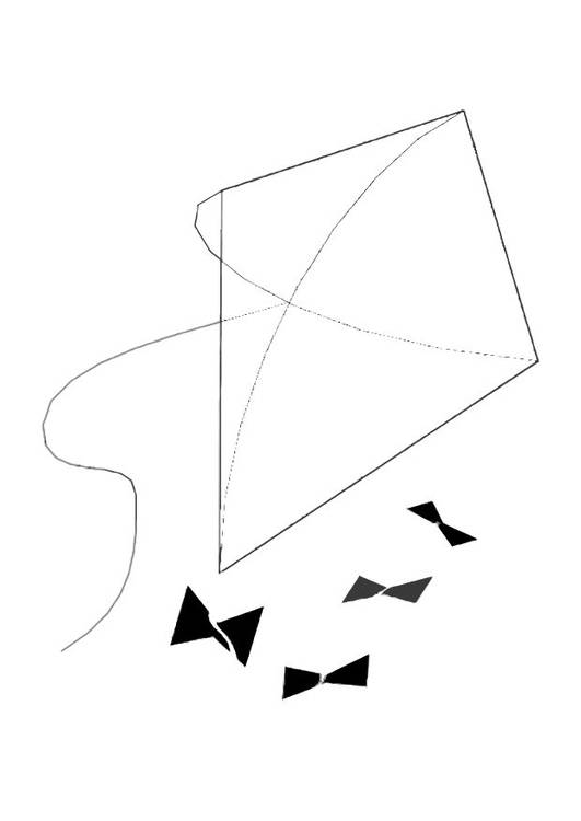 Free coloring and drawings Simplified kite Coloring page