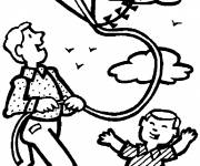 Coloring pages The father and his son and The Kite