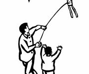 Coloring pages The Little Child plays with The Kite
