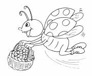 Coloring pages Ladybug collecting flowers