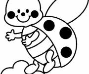 Coloring pages Ladybug in flight