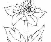 Coloring pages Ladybug on a flower