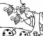 Coloring pages Ladybugs and bees