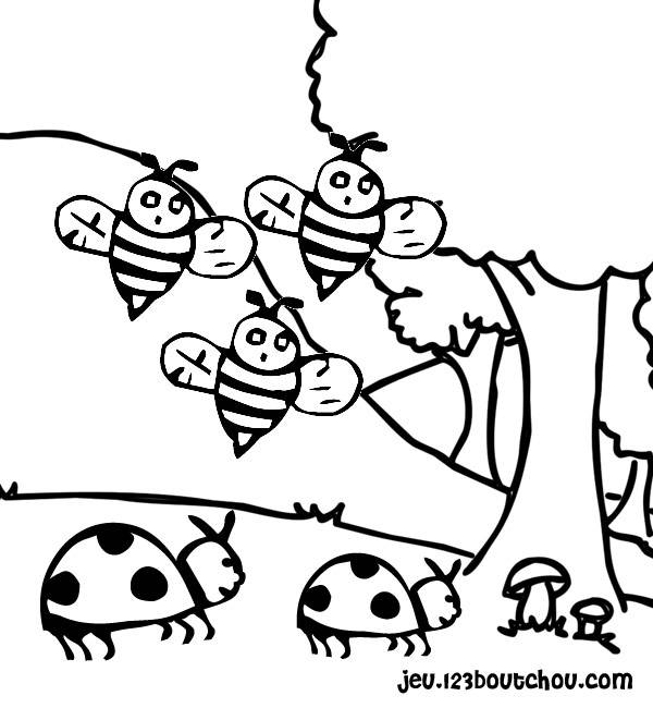 Free coloring and drawings Ladybugs and bees Coloring page