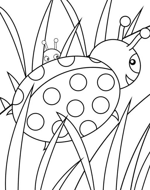 Free coloring and drawings Ladybugs in the garden Coloring page