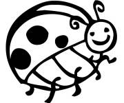 Free coloring and drawings Smiling ladybug Coloring page