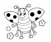 Coloring pages Smiling ladybug and flowers