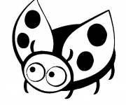 Coloring pages Vector ladybug with small wings