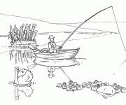 Coloring pages A fisherman throws his fishing rod