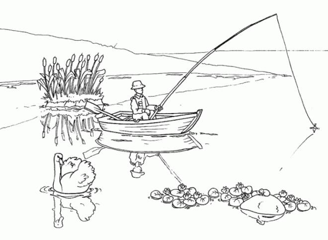 Free coloring and drawings A fisherman throws his fishing rod Coloring page