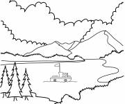 Coloring pages Boat by the Lake