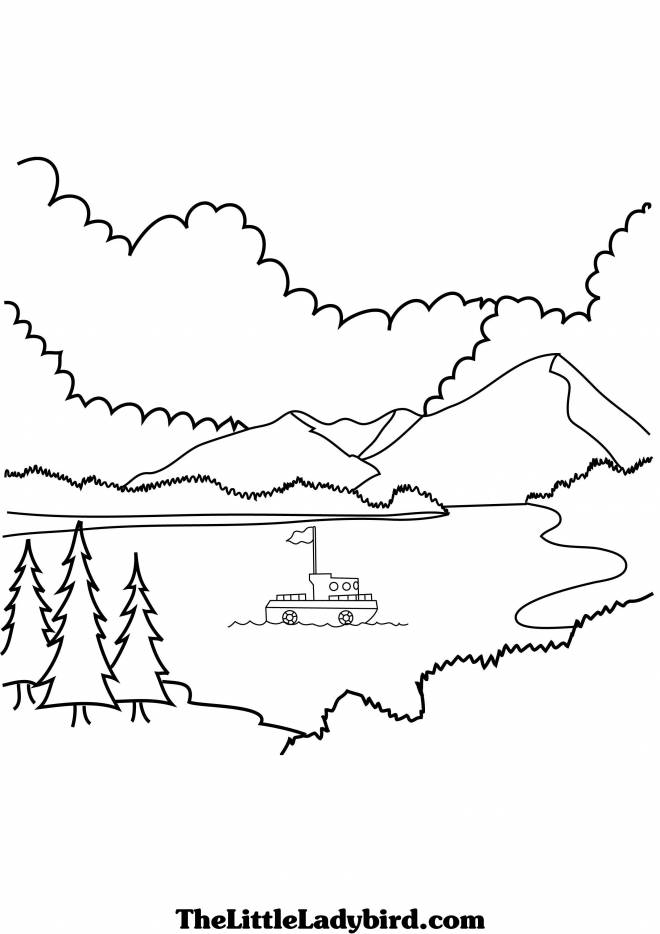 Free coloring and drawings Boat by the Lake Coloring page