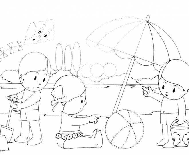Free coloring and drawings Children having fun on the lake Coloring page