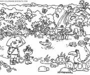 Coloring pages Dora and The Animals on the Lake