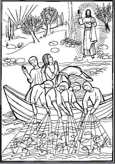 Free coloring and drawings Jesus on the Lake Coloring page