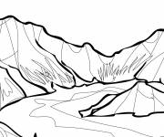 Free coloring and drawings Lake and Mountain Coloring page