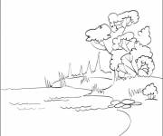 Coloring pages Lake in color