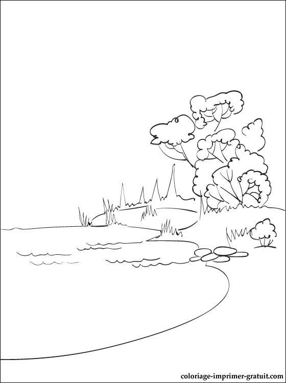 Free coloring and drawings Lake in color Coloring page