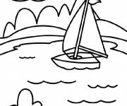 Coloring pages Lake in vector