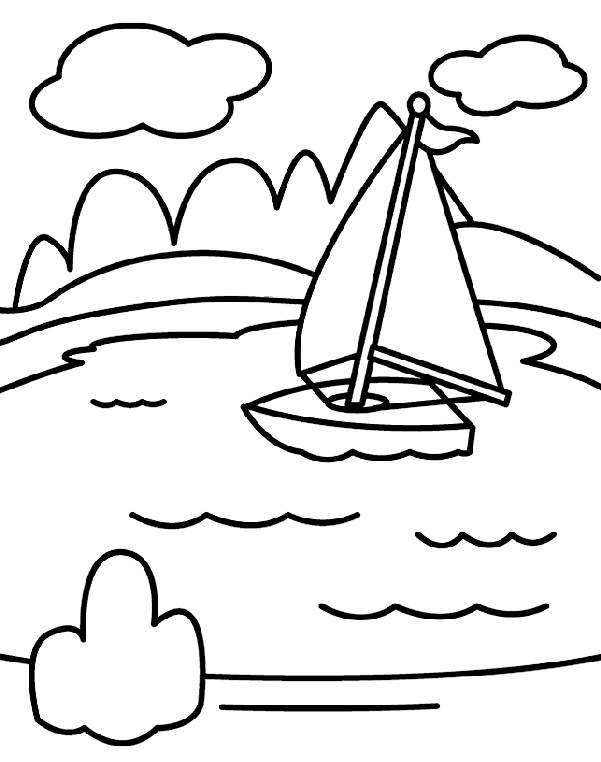 Free coloring and drawings Lake in vector Coloring page