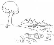 Coloring pages Landscape of the Lake