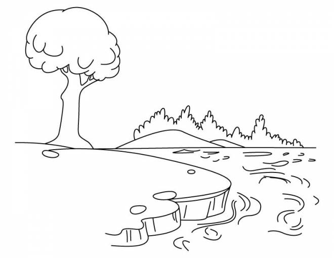 Free coloring and drawings Landscape of the Lake Coloring page