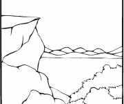 Coloring pages Mountain and Lake Landscape