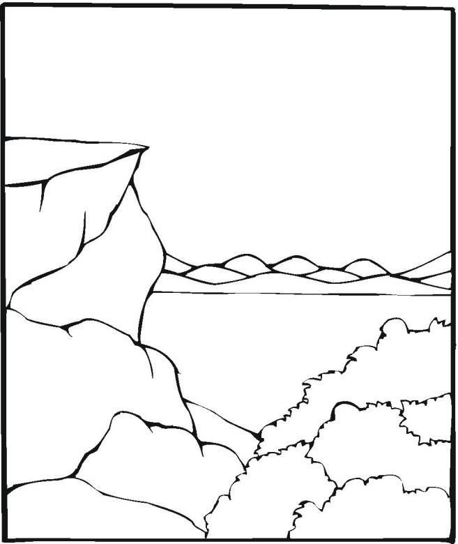 Free coloring and drawings Mountain and Lake Landscape Coloring page