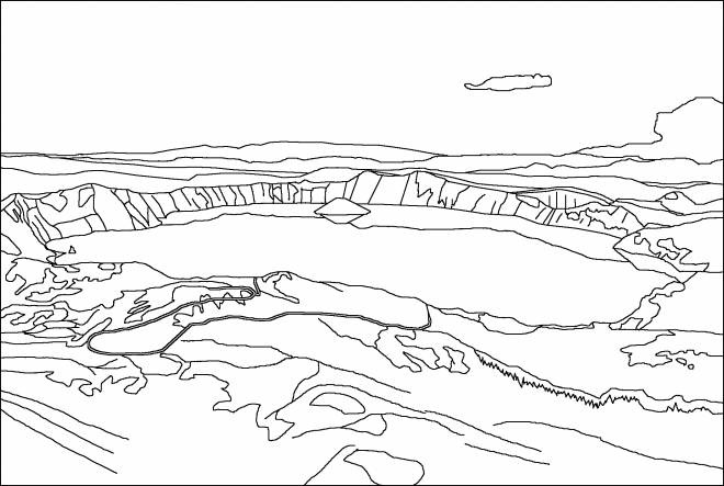 Free coloring and drawings Mountain lake Coloring page