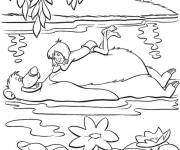 Coloring pages Mowgli in the lake