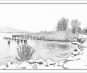 Coloring pages Realistic lake