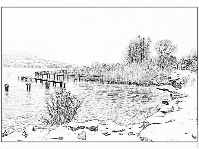 Free coloring and drawings Realistic lake Coloring page
