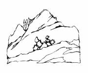 Coloring pages A beautiful Mountain Landscape