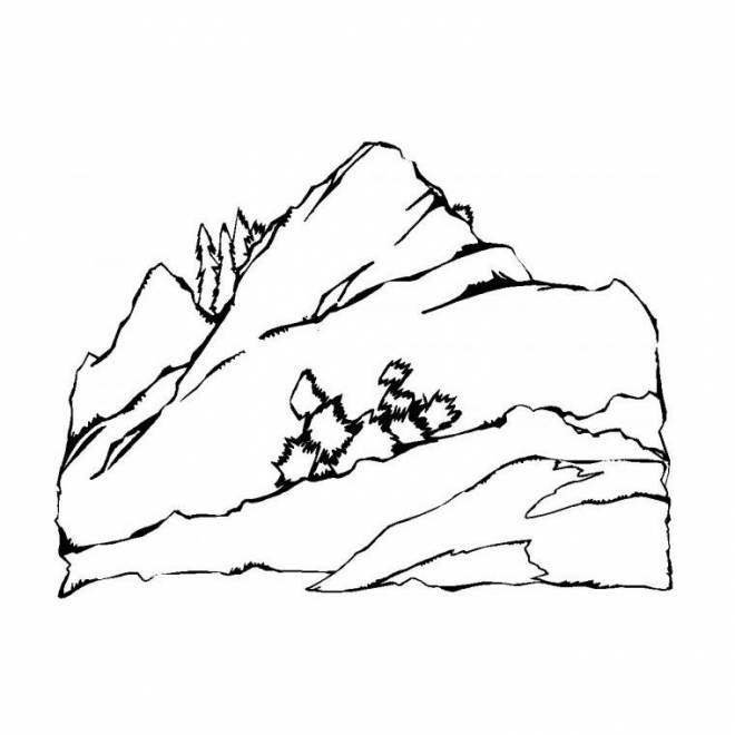 Free coloring and drawings A beautiful Mountain Landscape Coloring page