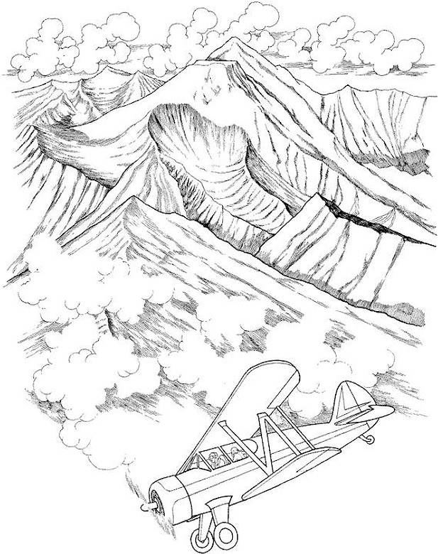 Free coloring and drawings A mountain range Coloring page