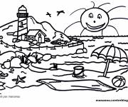 Coloring pages Beach and Mountain Landscape