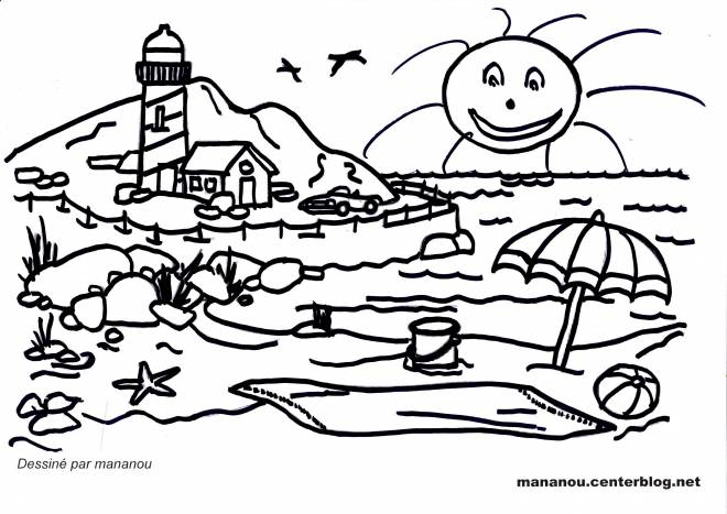 Free coloring and drawings Beach and Mountain Landscape Coloring page