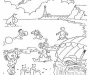Free coloring and drawings Beach Landscape Coloring page