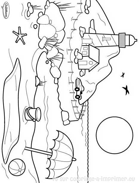 Free coloring and drawings Beach landscape in black and white Coloring page
