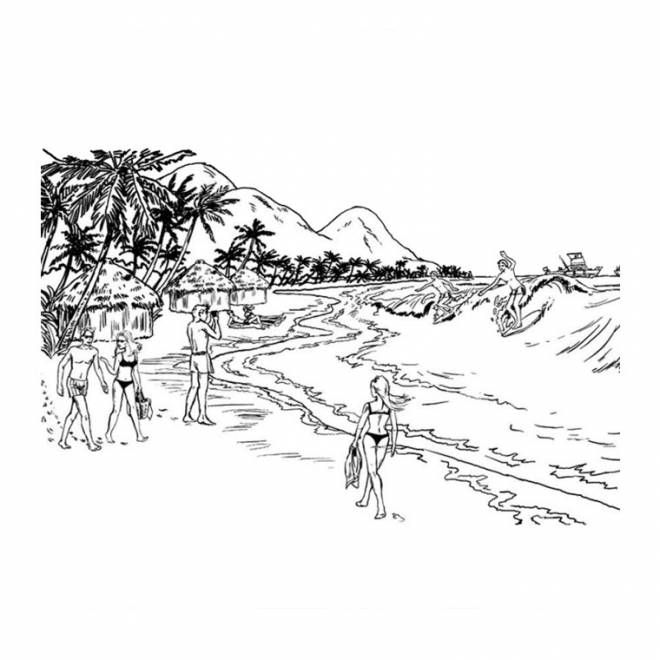 Free coloring and drawings Beach landscape to be colored Coloring page