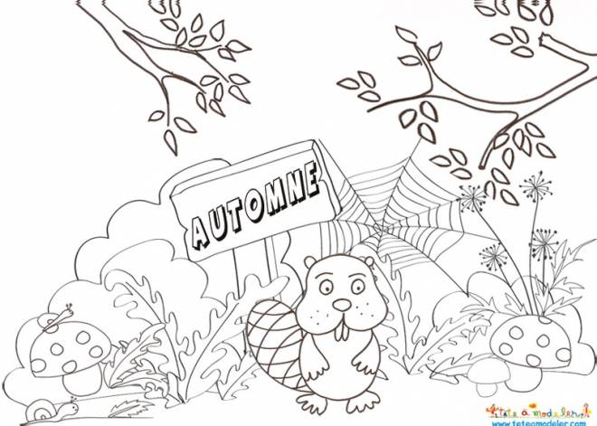 Free coloring and drawings Beaver landscape Coloring page