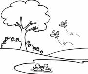 Coloring pages Butterflies in flight in the Park