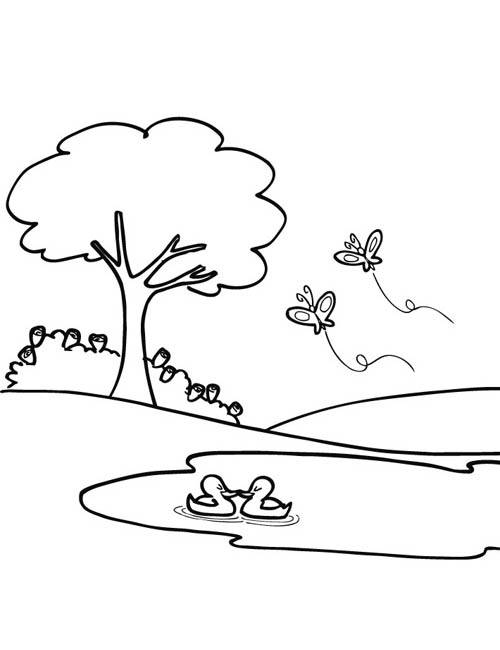 Free coloring and drawings Butterflies in flight in the Park Coloring page