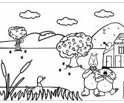 Coloring pages Cartoon countryside and animals