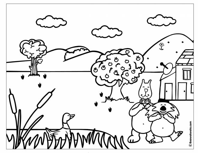 Free coloring and drawings Cartoon countryside and animals Coloring page