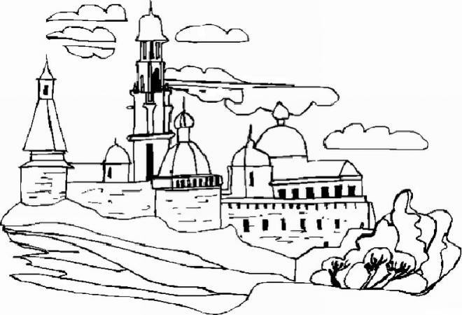 Free coloring and drawings Castle Landscape Coloring page