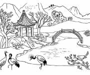Free coloring and drawings Chinese Garden Landscape Coloring page