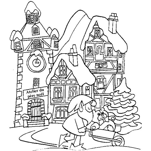 Free coloring and drawings Christmas workshop landscape Coloring page