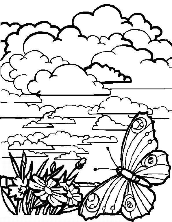 Free coloring and drawings Cloud landscape Coloring page